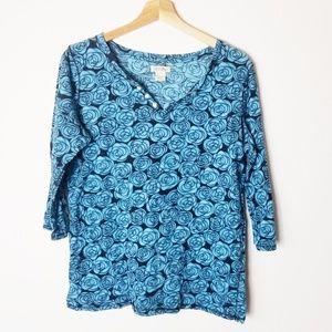 Lucky Brand Blue Teal Floral Rose Pattern V Neck